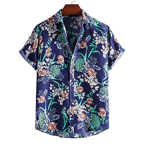 SSBZYES Chemises pour Hommes Chemises D'été à Manches Courtes Chemises à Fleurs Hauts pour Hommes T-Shirts Été Plus Size Black Revers Chemises Slim pour Hommes