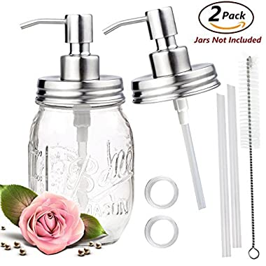 ONME Soap Dispenser Lids - Stainless Steel Mason Jar Soap Dispenser Bathroom Accessories 2 Pack Set - (Jar Not Included) (silver)