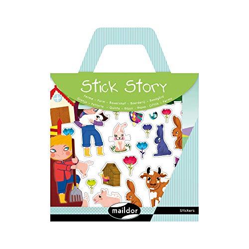 Maildor 566401O - Une valisette Stick'story comprenant 2 décors + 4 planches de stickers repositionnables, Ferme (100 stickers)