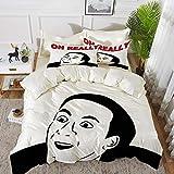 Juego de cama, microfibra,Groovy, hombre sonriendo con expresiones faciales persona sonriente arte gráfico contemporáneo, naranja neg,1 juego de funda nórdica 135 x 2002 fundas de almohada 50x80cm