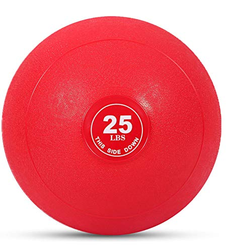 Weighted Slam Ball by Day 1 Fitness – 25 lbs RED - No Bounce Medicine Ball - Gym Equipment Accessories for High Intensity Exercise, Functional Strength Training, Cardio, CrossFit