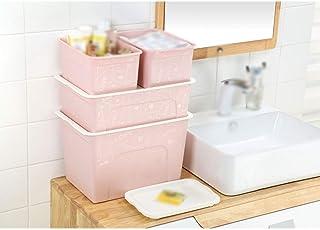 MU Ménage Portable Boîte De Rangement en Bois Massif, Paquet De 4 Ménage en Plastique Ménage sous-vêtements Boîte Portable...