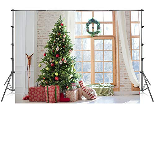 7x5ft Vinyl Christmas Photography Backdrops Xmas Party Decoration Photo Background Window Christmas Tree Backdrop for Photoshoot