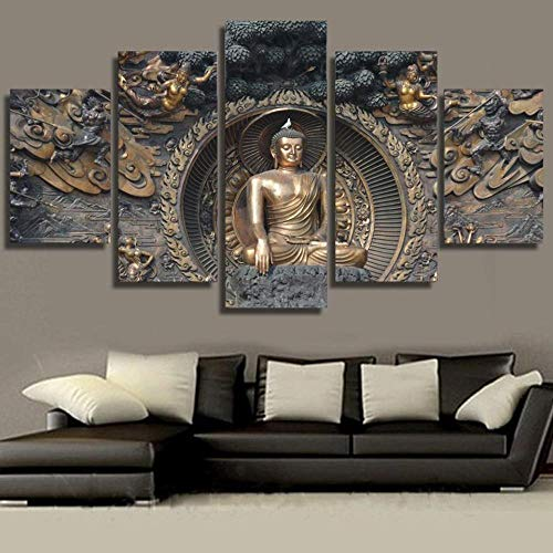 QAWSE Canvas Wall Art 5 Pieces Non-Woven Canvas + Print Artwork 5 Panel Photo 5 Pieces Wall Picture Multi Panel Modern Large Artwork Copper Buddha for Living Room Bedroom 150x80cm