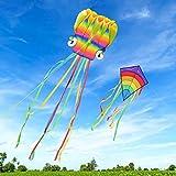 Homegoo Cometas Enormes 2 Packs, 5M Cometa de Pulpo y Cometa De Diamantes Arcoiris Enorme con Cola Larga y Colorida para Adultos Juegos al Aire Libre Actividades Volar fácilmente