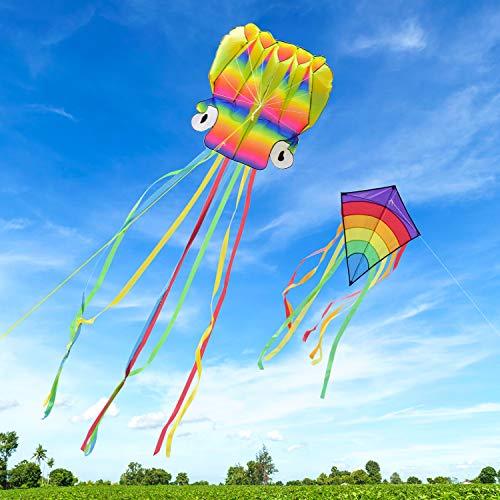 Homegoo Riesige Drachen Flugdrachen 2 Packs, 5M Large Octopus Kite und Riesiger Rainbow Diamond Kite mit langem, Buntem Schwanz für Erwachsene Outdoor-Spiele Aktivitäten Leichtes Fliegen