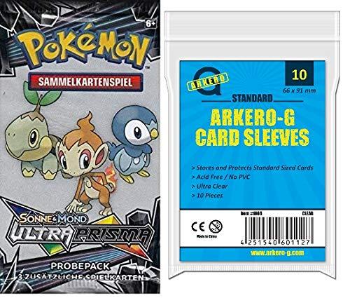 A Pokemon Sonne & Mond: Ultra Prisma Probepack (3 Karten Booster) - DEUTSCH + Arkero-G 10 Standard Soft Sleeves