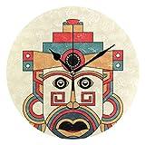 Butty Reloj de Pared Redondo con Estampado Tradicional de máscara Maya Azteca - Reloj silencioso sin tictac, Decorativo para Dormitorio de Sala de Estar de Oficina