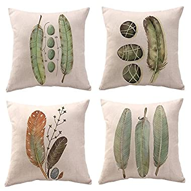 WOMHOPE 4 Pcs - 17  Green Feather Vintage Style Cotton Linen Square Throw Pillow Case Decorative Cushion Cover Pillowcase Cushion Case Sofa,Bed,Chair (Green Feather 4 Pcs)