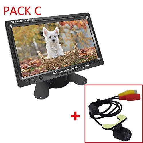 Feeldo DC12 V moniteur LCD 17,8 cm avec écran vue arrière Caméra de recul Système de vidéo avec sans fil 2,4 G & allume cigare en option