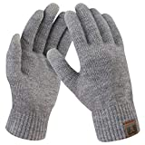 Bequemer Laden Damen Winter Warme Touchscreen Handschuhe Gedehnt Kaschmir Magie Handschuh Fleece Stretch Strick Dicke Handschuhe Outdoor Winterhandschuhe für Frauen, Mittel Grau, Einheitsgröße