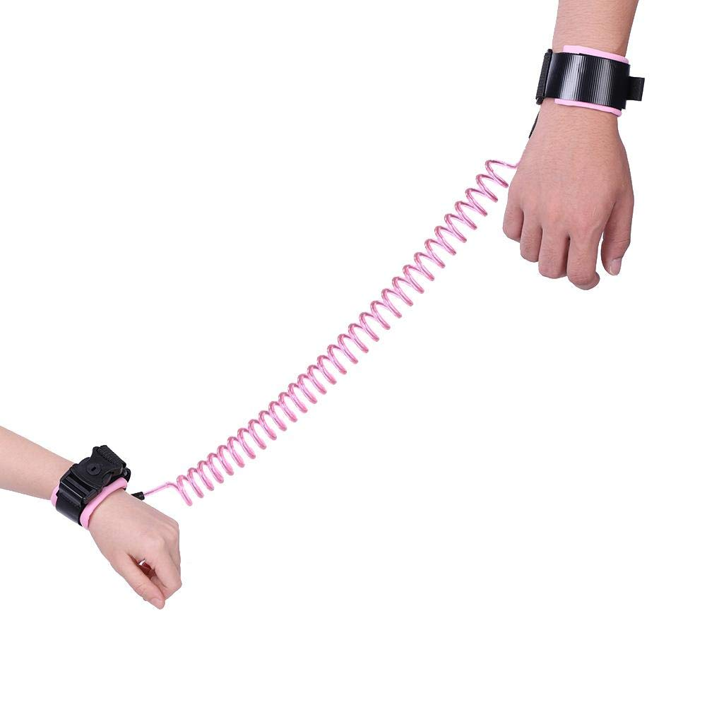 Anti Lost Wrist Link 2.5M Baby Kids Anti Lost Wrist Leash with Safety Key Lock Child Toddler Harness Wristband(Pink)