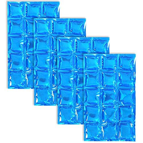 com-four® 4x Flexibles Eis-Pack - Kühlkompresse mit 15 Kühlzellen - Kühlpack für Haushalt, Sport und Freizeit (04 Stück - 25 x 15cm - blau)