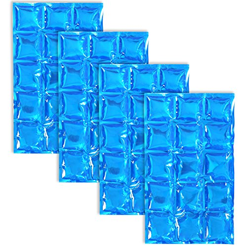 COM-FOUR 4x bolsa de hielo flexible - compresa de enfriamiento con 15 celdas de enfriamiento - paquete de enfriamiento para el hogar, el deporte y el ocio (04 piezas - 25 x 15cm - azul)