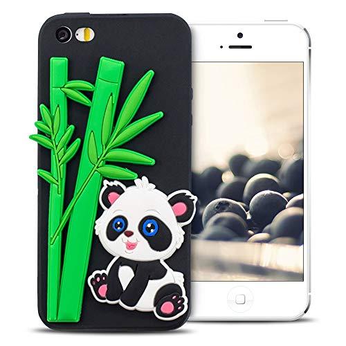 Mosoris Cover iPhone 5s/se/5 Natale Nuova 3D Cartone Animato Modello Case Ultra Sottile TPU Silicone Satinate Opaco Protettiva Custodia Antiscivolo Flessibile Gomma Gel Caso -Panda di bambù
