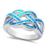 Oxford Diamond Co Lab Created Blue Opal .925 Sterling Silver Rings Size 7