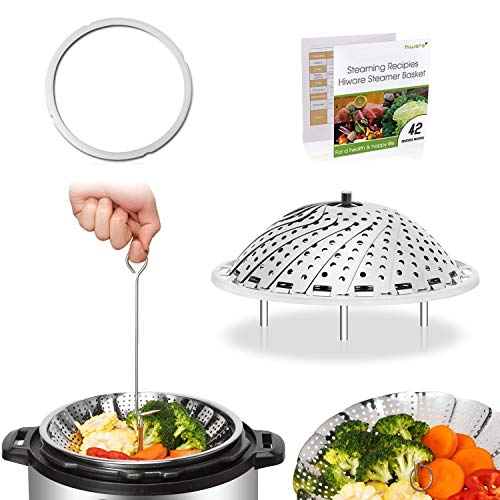 [IP BUNDLE] Vegetable Steamer Basket For Instant Pot Accessories - 100% Stainless Steel Folding Steamer Insert With Sealing Ring For 6qt Instant Pot/Safety Hook / 42 Healthy Recipes