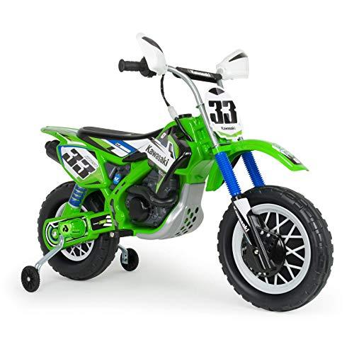 INJUSA - Moto Cross Kawasaki a Batería 12V Licenciada con Acelerador en Puño y Bandas de Goma en Rueda Trasera Recomendada a Niños +3 Años