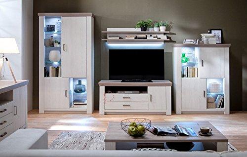 lifestyle4living Wohnwand, Wohnzimmerschrank, Anbauwand, Schrankwand, Fernsehwand, Wohnzimmerschrankwand, Wohnschrank, Pinie, Eiche
