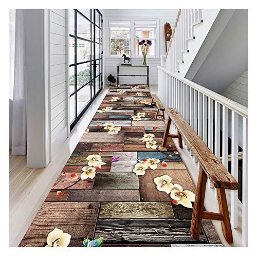 Alfombra Alfombras Pasillo de la alfombra del pasillo tiras de la escalera del hogar decoración exquisita con motivos florales antideslizante a prueba de polvo para proteger el piso Cocina Sala Estar