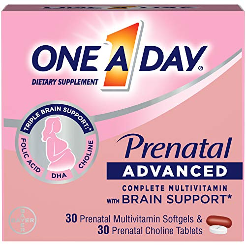 One A Day Womens Prenatal Advanced Complete Multivitamin with Brain Support* with Choline, Folic Acid, Omega-3 DHA & Iron for Pre, During and Post Pregnancy, 30+30 Count (60 Count Total Set)