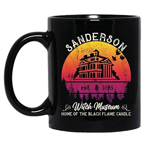 N\A Vintage Senderson Witch Museum Hogar de la Llama Negra Vela Disfraz de Halloween Taza de cerámica Tazas de café gráficas Tazas Negras Tapas de té Novedad Personalizada 11 oz