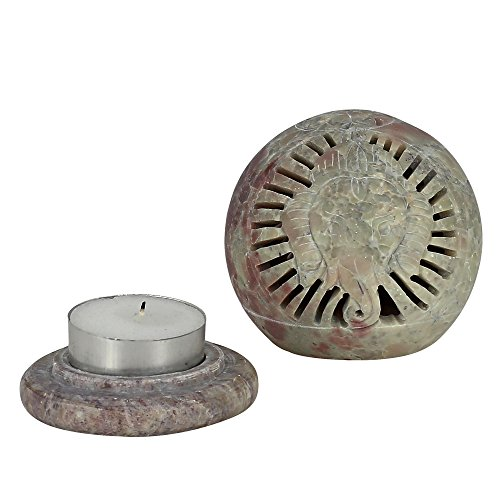 ShalinIndia Handmade Ganesha Soapstone Tealight Holder - Decorative Antique Candle Holder Globe - Perfect Gift for all Occasions