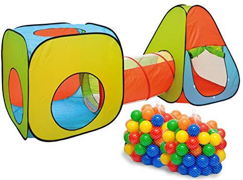 LittleTom 3er Bällebad Zelt 200 Baby Bälle Popup Tunnel Kinderzelt 260x90x100cm