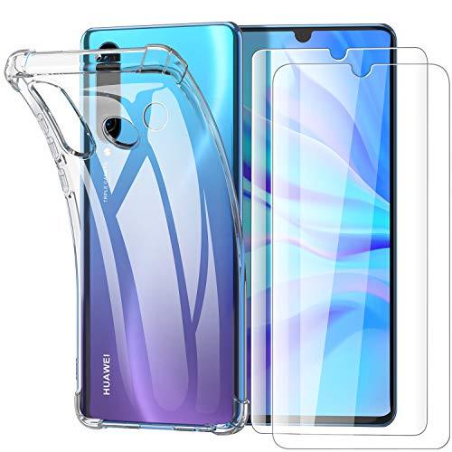 Garegce Coque Huawei P30 Lite, Huawei P30 Lite XL New Edition Transparente, 2 x Verre trempé Protecteur écran, Silicone Antichoc Bumper Coque pour Huawei P30 Lite, Huawei P30 Lite XL - Transparent