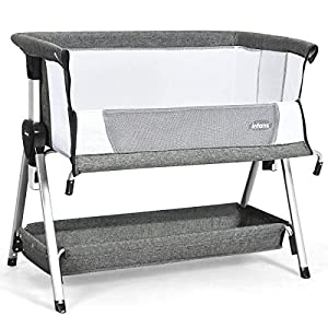 INFANS Baby Bedside Crib, Newborn Sleeper w/Large Storage Basket, Adjustable Height & Angle, Detachable &Washable Mattress, Breathable Mesh, Straps, Easy Moving Bed Side Bassinet