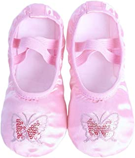 Niome Girls Satin Embroidered Ballet Shoes Sequin Yoga Dance Shoes Split Sole Flats Dancing Slipper