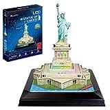 CCCYT 3D Building Puzzles Estatua de la Libertad Night Edition Puzzle Souvenir Juguetes educativos para niños Regalos para niños y niñas LED Modelos Decoración De Mobiliario Exquisita(37Pcs)