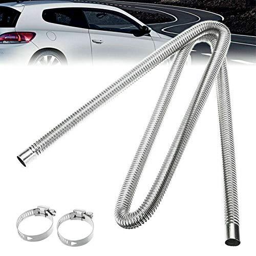 Hezhu 200CM LängeAuto Heizung Edelstahl Abgasrohr Standheizung Kraftstofftank Abgasrohr für Autoluftheizung+ Klemmen Für Auto Luft Standheizung Tool