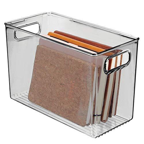 mDesign - Opbergbox - vulsysteem voor vakkenkast/ideale bergruimte voor cosmetica in de badkamer - transparant/met geïntegreerde handvatten/aantrekkelijk design - smoke grijs - Rookgrijze tint