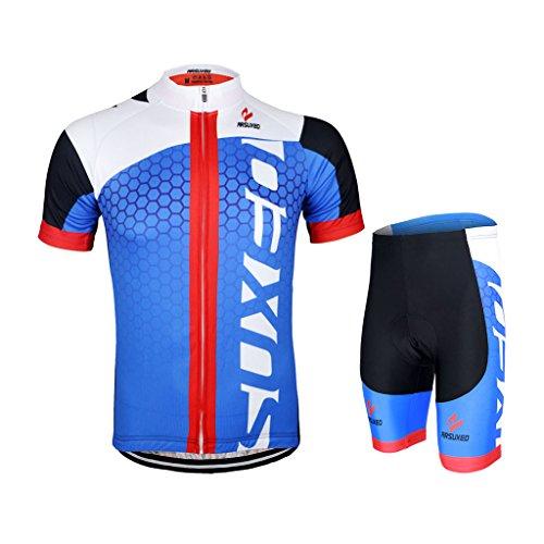 GWELL Männer Fahrradtrikot Set Fahrradbekleidung Atmungsaktiv Fahrrad Trikot Kurzarm + Radhose mit 3D Sitzpolster blau schwarz L