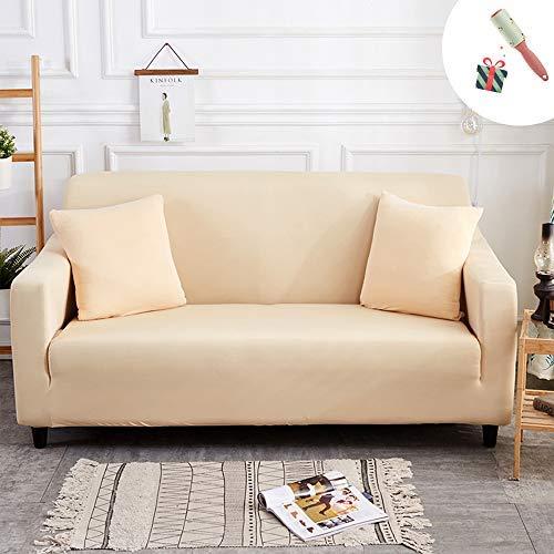 Elastisch Sofa Überwürfe Sofabezug, Morbuy Ecksofa L Form Stretch Antirutsch Armlehnen Einfarbig Sofahusse Sofa Abdeckung Hussen für Sofa Couchbezug Sesselbezug (2 Sitzer,Beige)