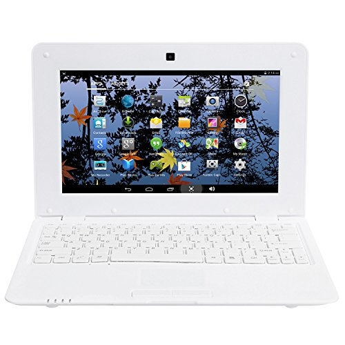 BIGMAC Laptop 10 Zoll Android 6.0 Quad Core Laptop Mini Netbook 8GB WIFI Webcam Netflix YouTube Google Flash Ultra Slim (weiß)