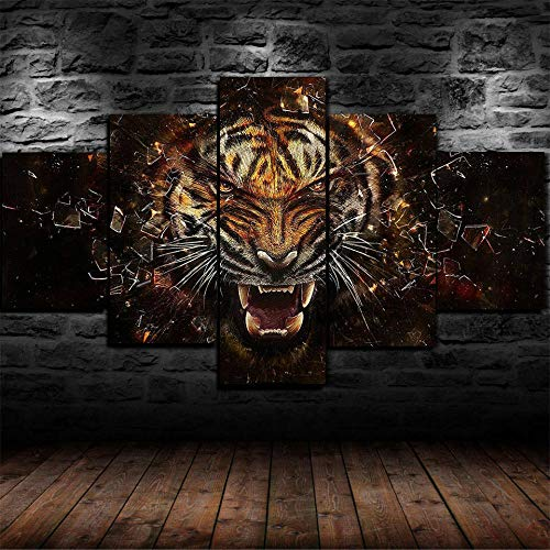 Murosn Leinwanddrucke,Modulare Wandkunst Wandaufkleber,5 Teiliges Wandbild,Heftiges Tiger-brüllendes Tier,Mit Rahmen,-150 * 80cm