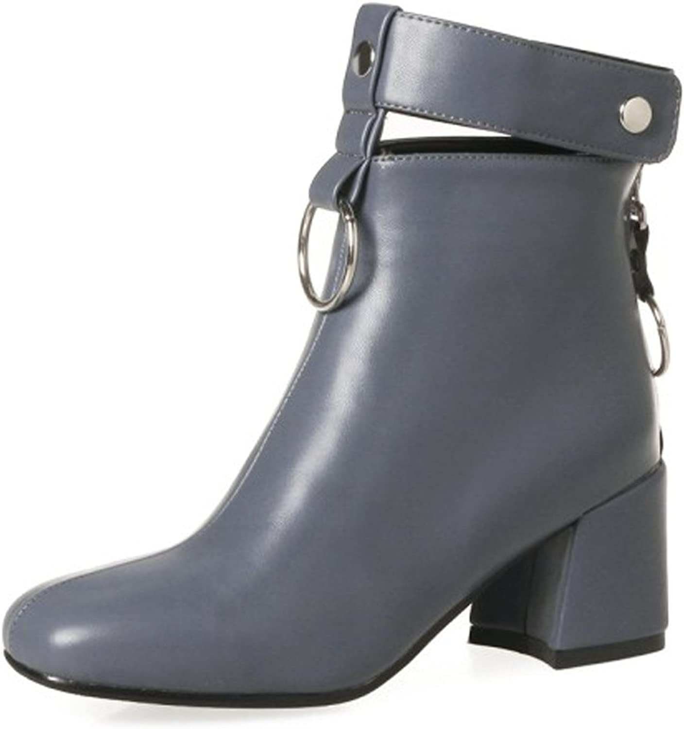 QZUnique Women Back Zip-Up Chunky Heel Ankle Booties Roound Toe Martin Boots with Duoit Decoration