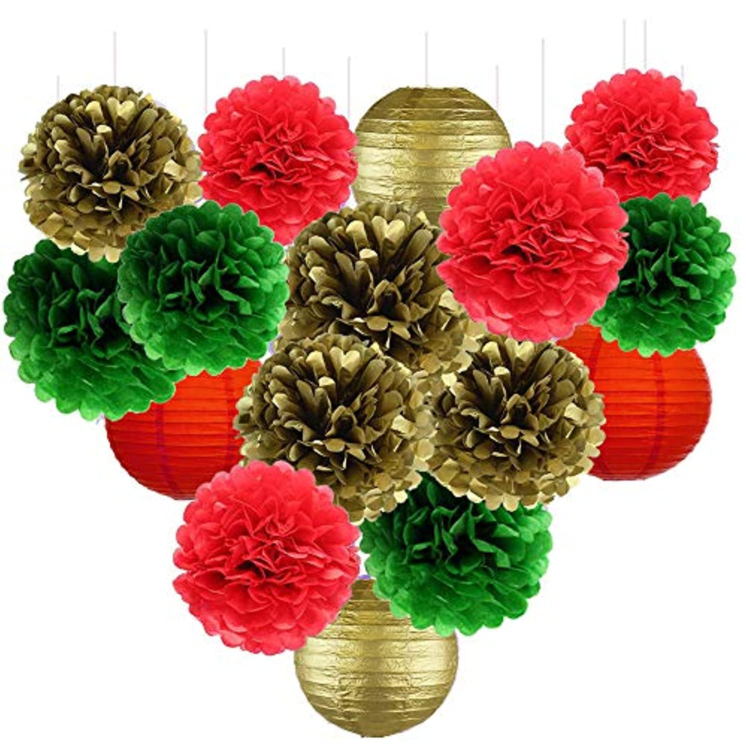 Fascola Pack of 16 Pieces Christmas New Year Hanging Decoration Paper Pom Poms Flowers Xmas Party Favor Baby Shower Birthday Wedding Home Decoration Red Green Green