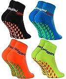 Rainbow Socks - Niñas Niños Calcetines Antideslizantes de Deporte - 4 Pares - Negro Azul Naranja Verde - Talla 24-29