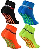 Rainbow Socks - Jungen Mädchen Neon Sneaker Sport Stoppersocken - 4 Paar - Schwarz Orange Grün...