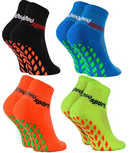 Rainbow Socks - Jungen Mädchen Neon Sneaker Sport Stoppersocken - 4 Paar - Schwarz Orange Grün Blau - Größen 24-29