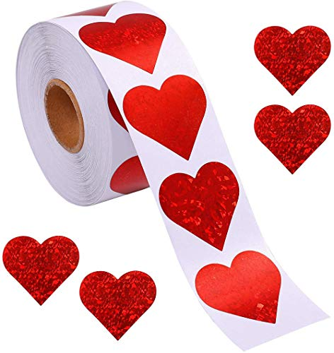 Pegatinas de corazón con diseño de corazón para el día de San Valentín, autoadhesivas, con purpurina, accesorios decorativos para boda, paquete de 500 unidades, 3,8 cm