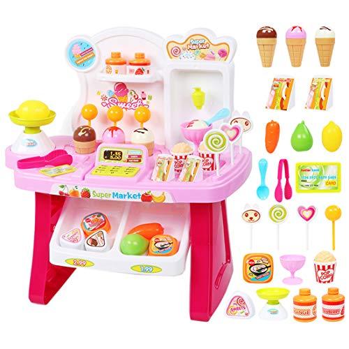 ZUJI 34Pcs Supermercado Juguete Tienda Compras Mercado con Caja Registradora y Accesorios con Luz y Sonido Cocina Juego de imitación para Niñas Niños