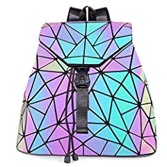 ★ This is a Wonderful Geometric Luminous Backpack for Women, it's a Classic Black Backpack In Normal Light,But The Color Will Changes in Different Lights,Angles or Distance,It's a Reflective Backpacks in Strong Light( 1st Picture). ★ It's a Good Conv...