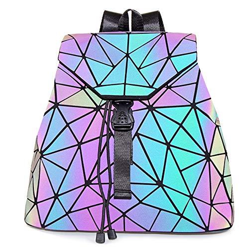 Hot One Handtasche Damen Geometrische Reflektierende Umhängetasche Geldbeutel Damen Taschen Set Rucksack (Leuchtend Rucksäcke Nr.1)