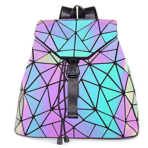 HotOne Geometric Luminous Purses and Handbags Shard Lattice Eco-friendly Leather Holographic Purse (Backpack 3191)