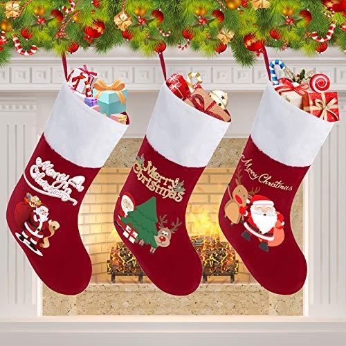 CUKENG 3er Set Nikolausstiefel, Weihnachtsstrumpf, Weihnachtssocken Hängende Strümpfe auf Kamin, Schaufenster für Weihnachtsdeko, Befüllen