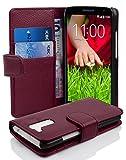 cadorabo custodia libro per lg g2 mini in lila bordeaux - con vani di carte e funzione stand di similpelle strutturata - portafoglio cover case wallet book etui protezione